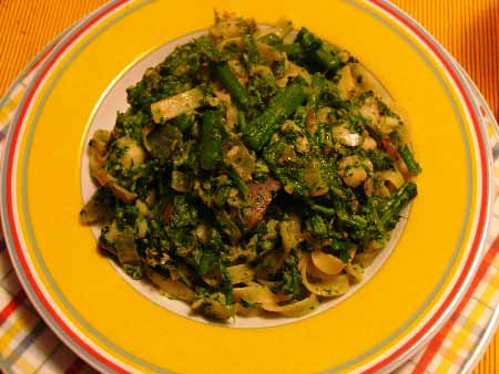 Tagliatelle mit brokkoli und kabeljau